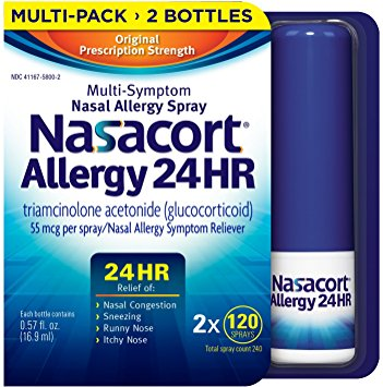 Nasacort Nasal Spray, two bottles with 16.9 ml.