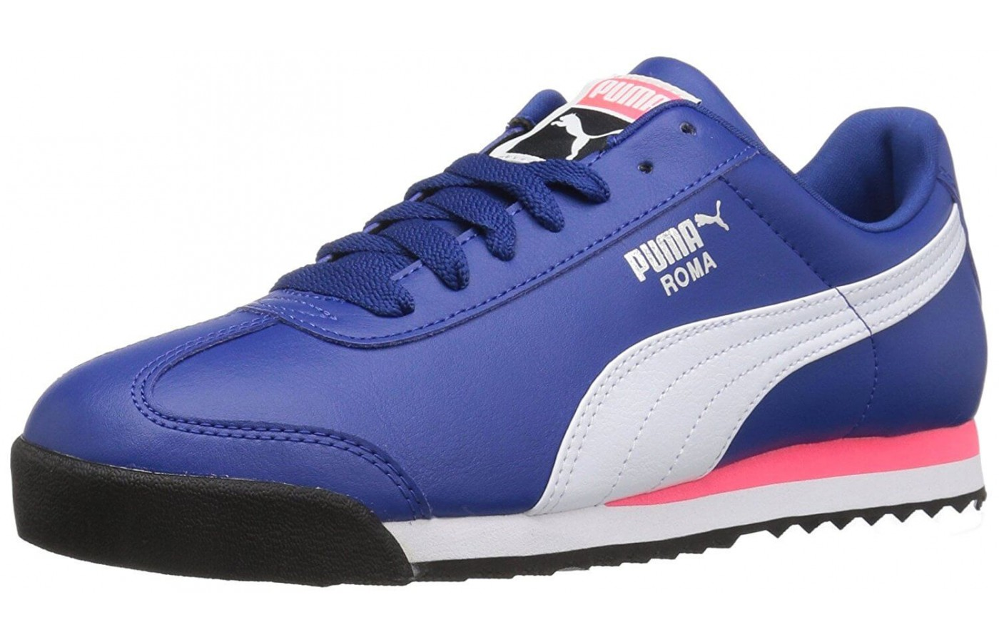 The Puma Roma features a faux-leather upper