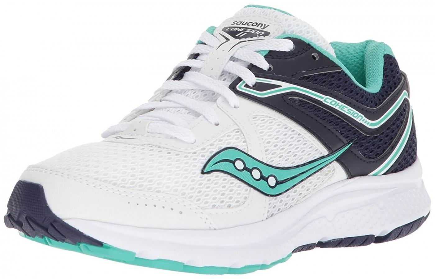 The Saucony Cohesion 11 in a white, navy, and teal colorway