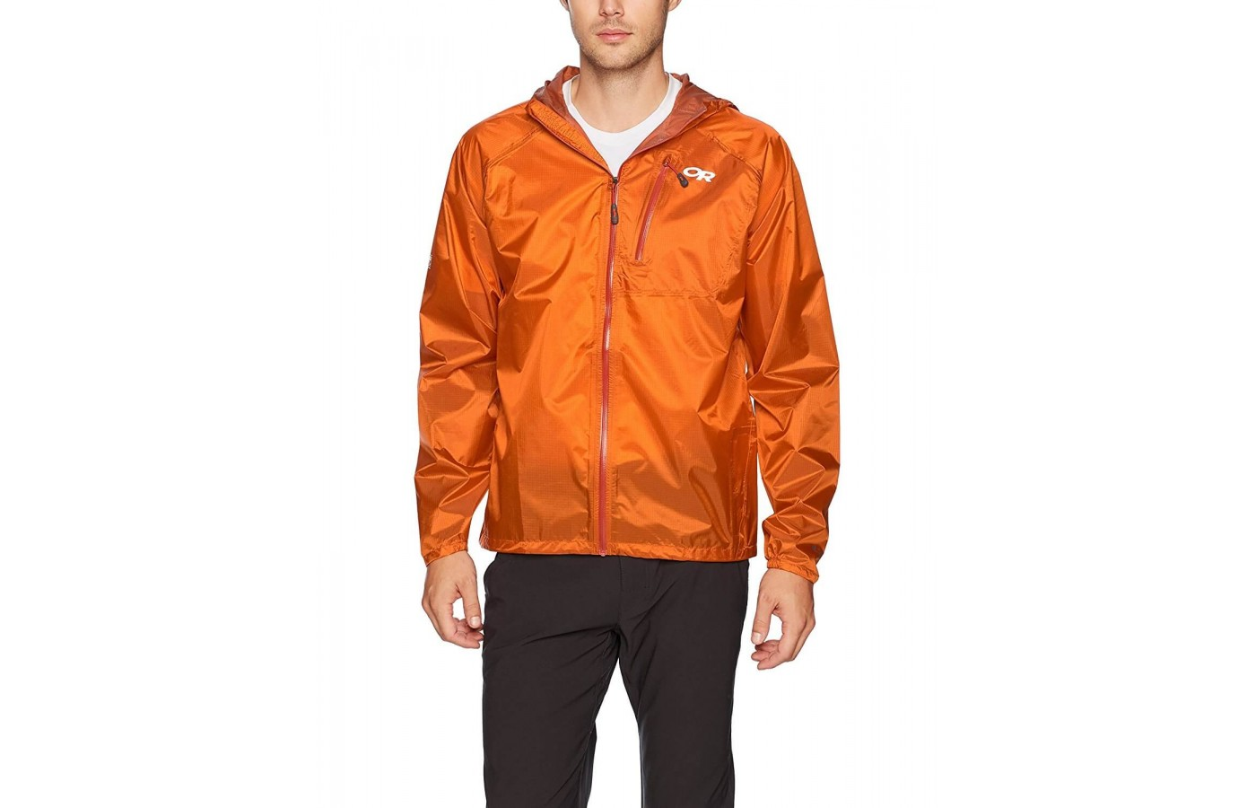 The Outdoor Research Helium II has a zippered chest pocket that can hold small valuables.