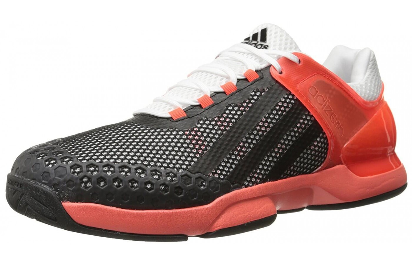 The Adidas Adizero Ubersonic is a tennis shoe designed for stability and protection.