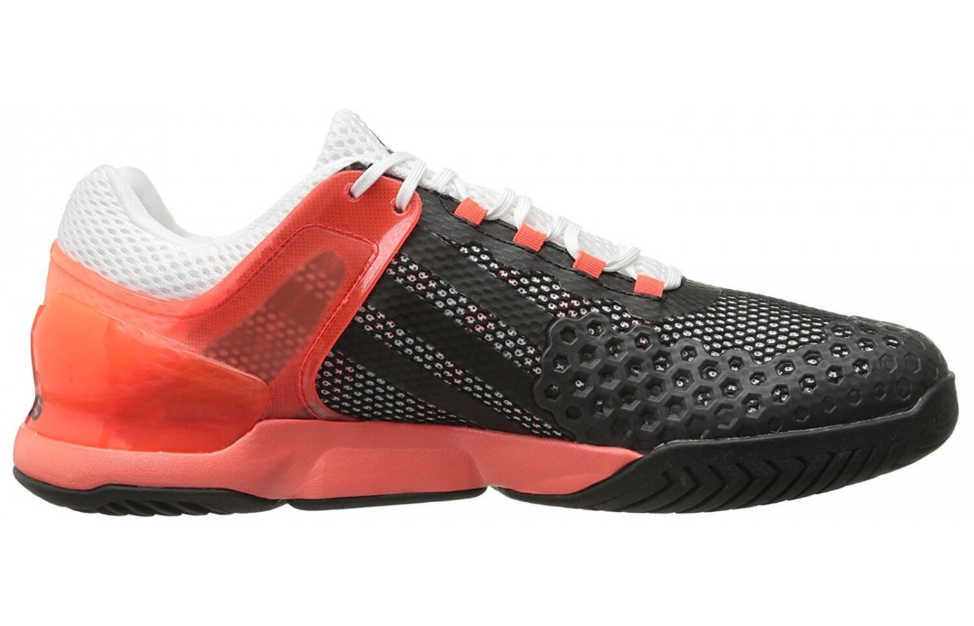 A piece of brightly colored plastic serves as a heel cradle and midfoot cage for the Adidas Adizero Ubersonic.