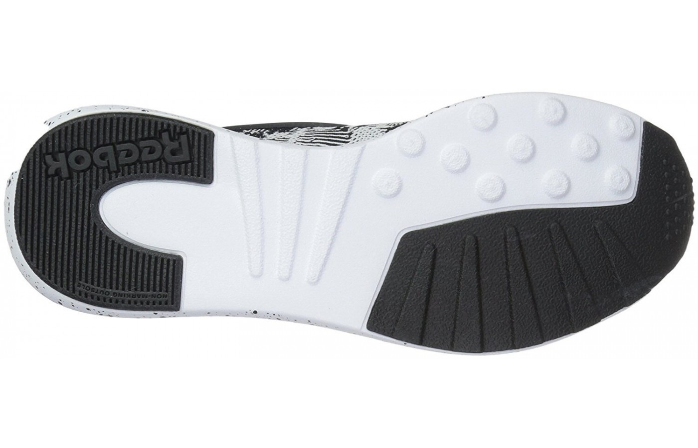 The outsole of the Reebok Zoku Runner features a shallower tread pattern than many other running shoes.