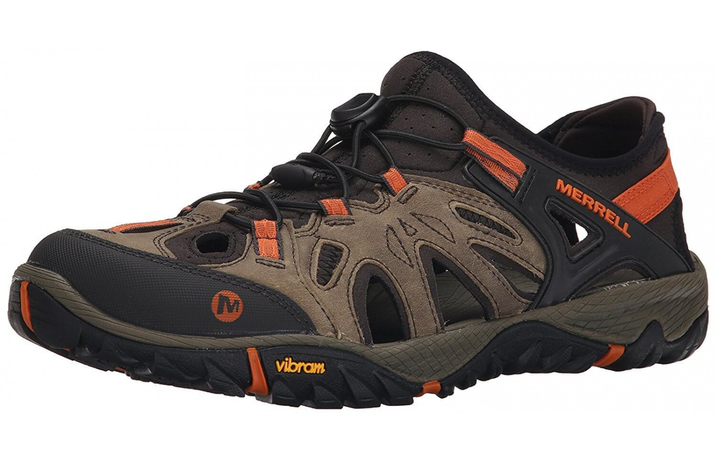 The Merrell All Out Blaze Sieve has an elastic back and elastic laces for a convenient slip-on style.