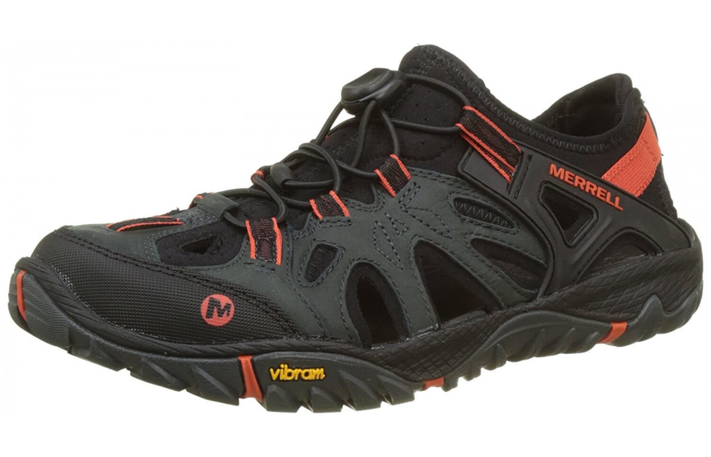 The Merrell All Out Blaze Sieve's first layer of water protection is its waterproof leather upper.