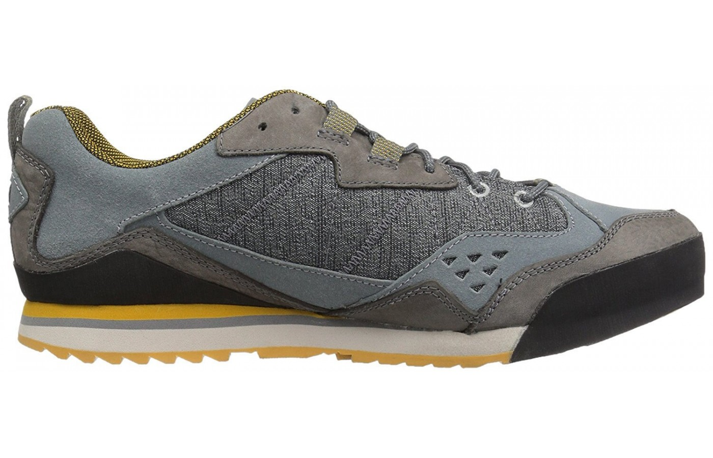 The Merrell Burnt Rock features a mesh and leather upper design