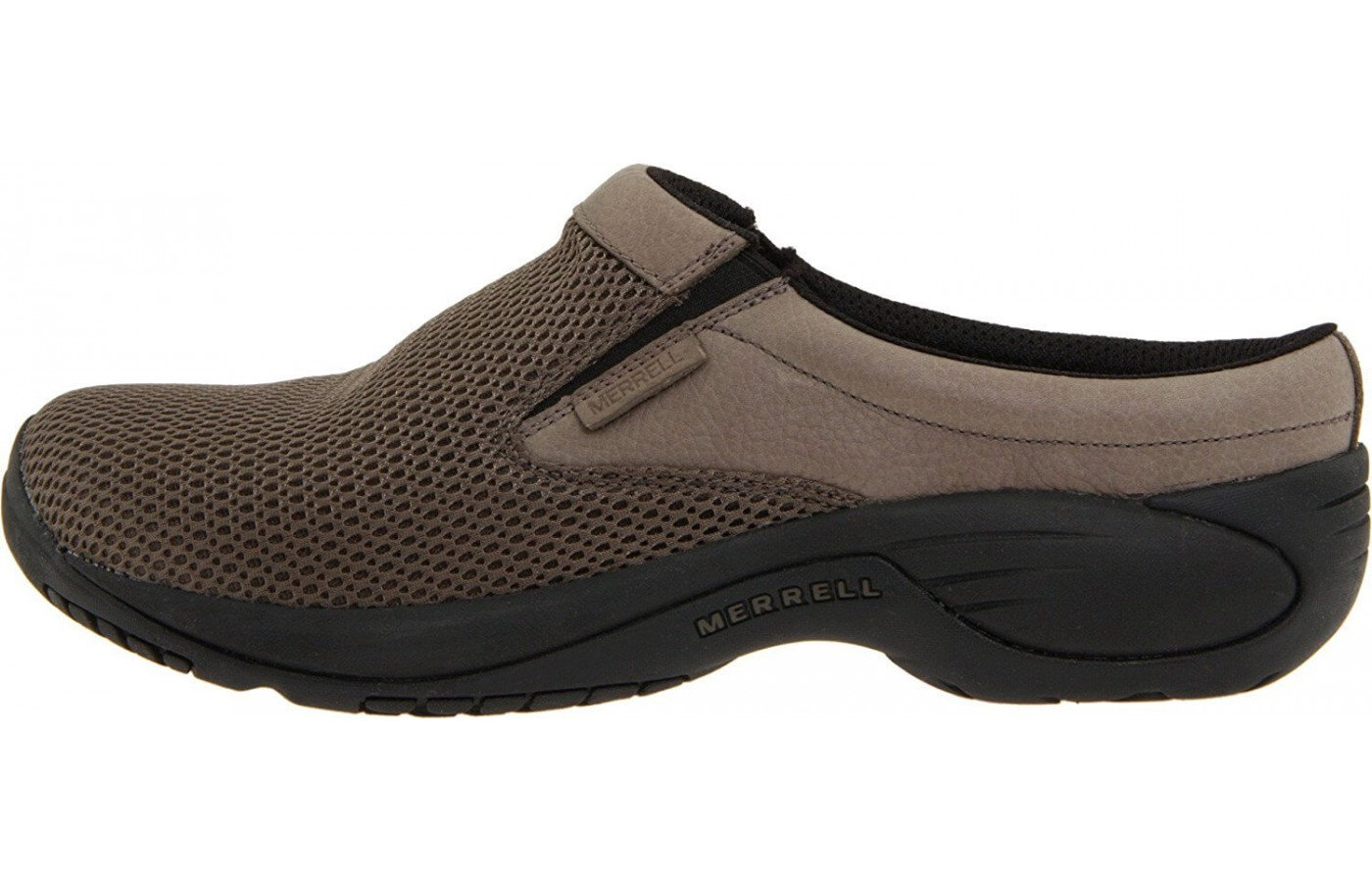 The Merrell Encore Bypass has a leather mesh upper