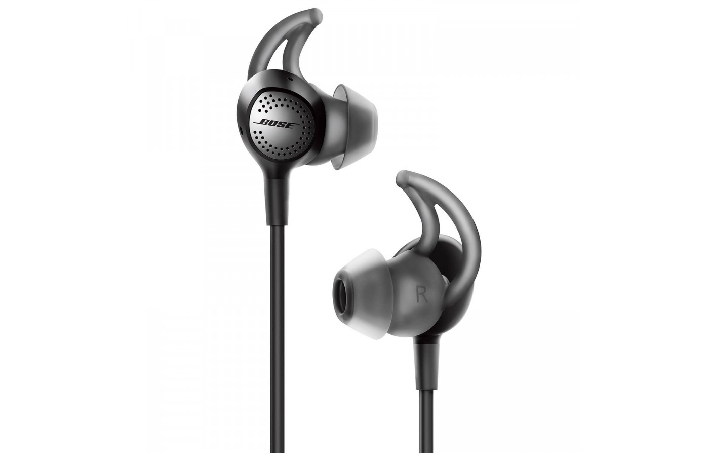 A closeup of the earbuds on the Bose Quiet Comfort 30.