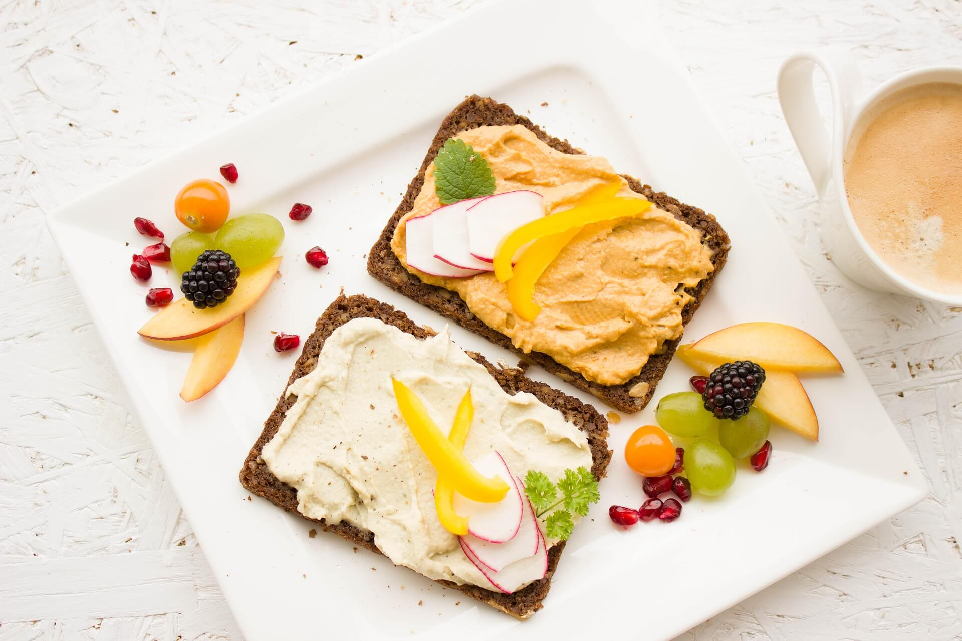 vegan toast with hummus and spreads