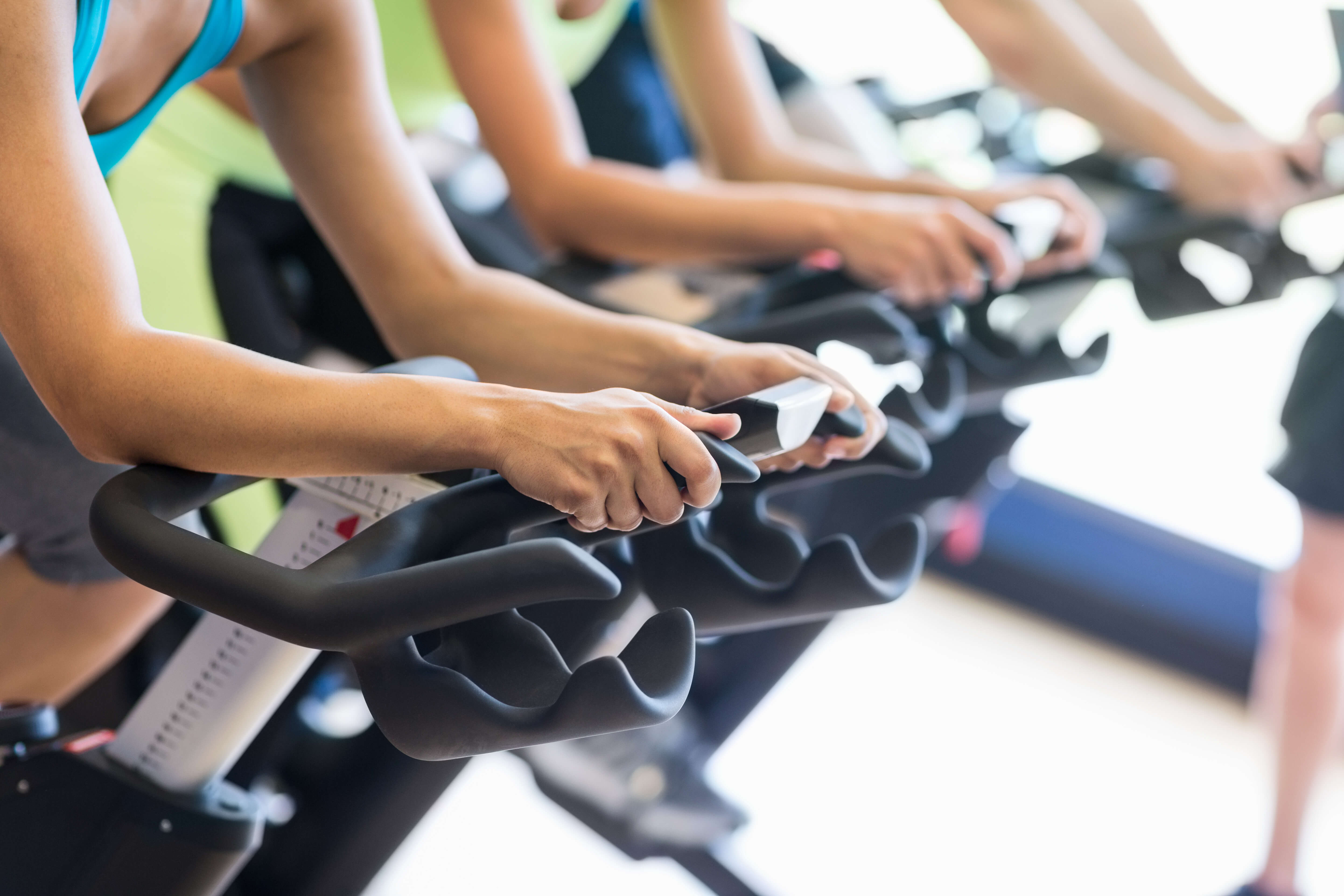 Third position on a spin bike