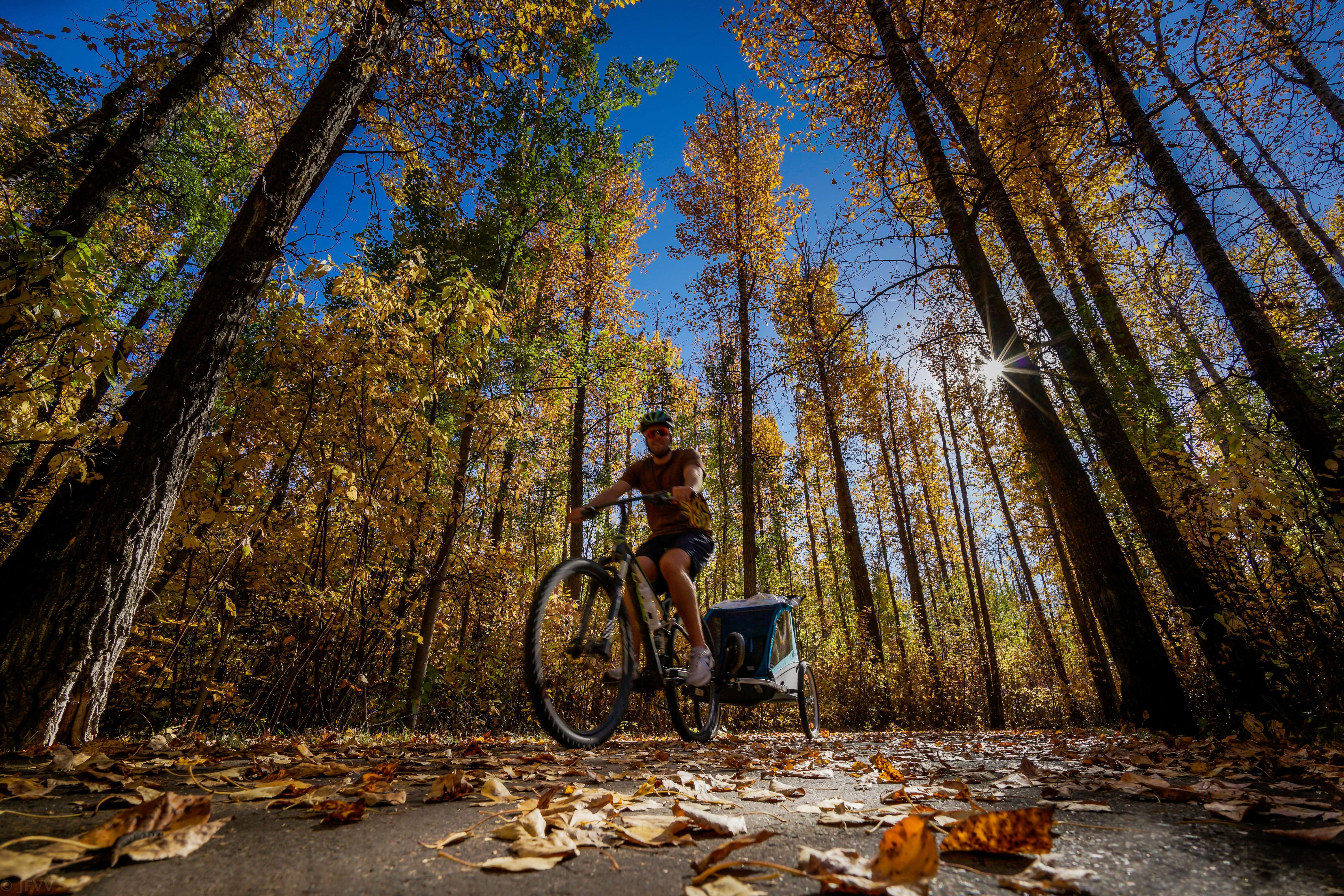 Biking is a great fall outdoor workout