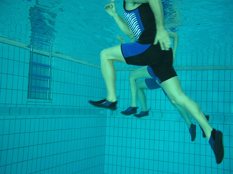 aqua jogging workout with water shoes