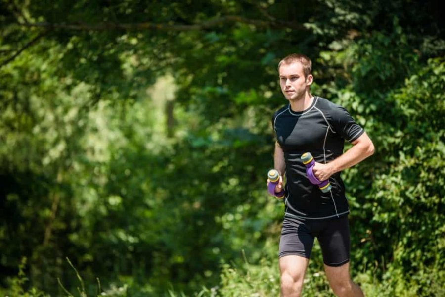 running with hand weights